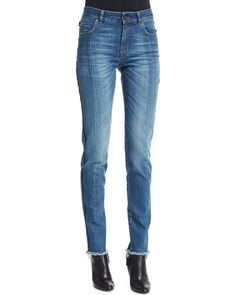 B30PE TOM FORD High-Waist Patchwork-Panel Jeans, Blue