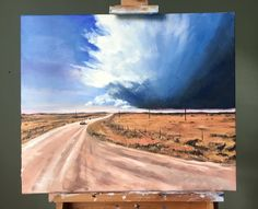 "Heartland Visions -The Springsteen Art Project by Jonas Linell: I've almost done with painting ""The Promised Land"" Oil on canvas, 60 x 50 cm ""Well there's a dark cloud rising from the desert floor I packed my bags and I'm heading straight into the storm"""