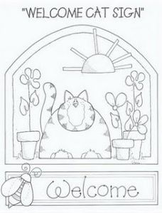 Welcome Cat Stitchery Cross Stitch Embroidery, Embroidery Patterns, Hand Embroidery, Garden Embroidery, Doily Patterns, Embroidery Dress, Dress Patterns, Anni Downs, Cat Quilt