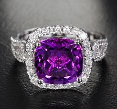 3.85ct VVS Amethyst .47ct Diamonds Solid 14K White by ThisIsLOGR, $685.00