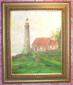 Landscape Lighthouse sunset original oil painting signed McCafferty size 16x20   150.00 http://www.ebay.com/itm/Landscape-Lighthouse-sunset-original-oil-painting-signed-McCafferty-size-16x20-/331472644655?ssPageName=STRK:MESE:IT