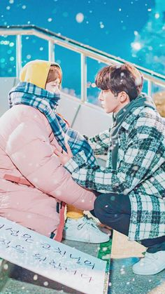 WEIGHTLIFTING FAIRY KIM BOK JOO❤️ when she was still mad of him because she's jealous but he was just still there supporting her cause even though she's cold as a winter on him =) coat scarf bah Nam Joo Hyuk Lee Sung Kyung, Jong Hyuk, Kdrama, Weightlifting Kim Bok Joo, Weightlifting Fairy Kim Bok Joo Scene, Weightlifting Fairy Kim Bok Joo Wallpaper, My Shy Boss, Weighlifting Fairy Kim Bok Joo, Ver Drama