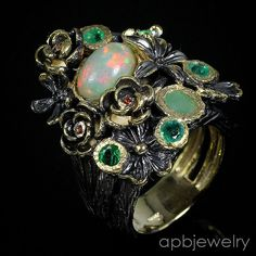 Handmade fine Art Natural Opal 925 Sterling Silver Ring Size 6.75/R26793 #APBJewelry #Ring