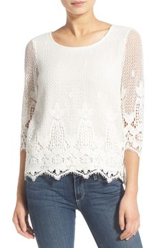 ella moss thistle crochet three-quarter sleeve top