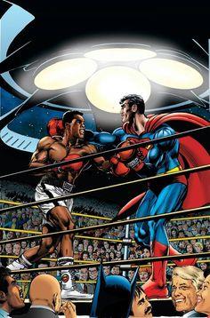 Superman vs Muhammad Ali Art by Neal Adams Comic Book Covers, Comic Books Art, Comic Art, Action Comics 1, Marvel E Dc, Superman Family, Dc Comics Characters, Comics Universe, Muhammad Ali
