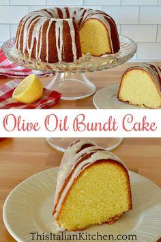 This delicious Italian bundt cake recipe is made with olive oil, yogurt, and lemon. Don't miss the lemon honey glaze. #oliveoilbundtcake #oliveoilyogurtcake