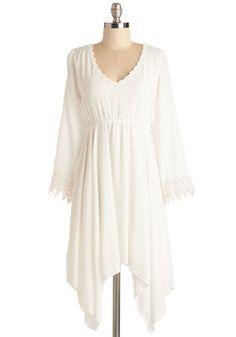 Wisp Reminds Me Dress - White, Solid, Crochet, Trim, Casual, Boho, Festival, Empire, 3/4 Sleeve, Spring, Woven, Short, V Neck