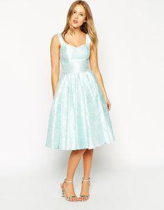 Image 1 ofASOS SALON Floral Jacquard Sweetheart Neck Prom Dress