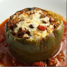 Crockpot Stuffed Peppers.  Already tried it - so good.  Made one using a red bell pepper.