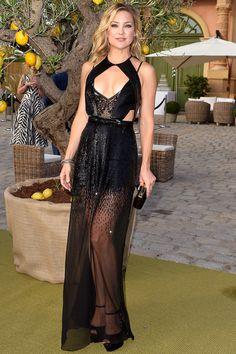 Kate Hudson pulls off this heavy-hitting dress by Julien Macdonald | July 24, 2015