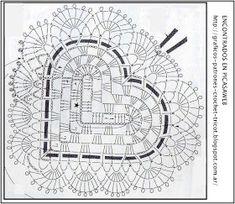 PATRONES=GANCHILLO = CROCHET  = GRAFICOS =TRICOT  = DOS AGUJAS: CORAZON  TEJIDO A GANCHILLO SU PATRON = CROCHET = ESQUEMA = YOUR HEART TISSUE PATTERN TO CROCHET CROCHET = SCHEME =