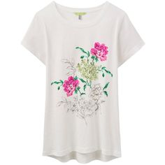 b2bf2a1b73 Joules Eva Floral Print T-Shirt, Cream ($23) ❤ liked on Polyvore featuring  tops, t-shirts, print tees, white t shirt, floral print tee, floral print t  ...