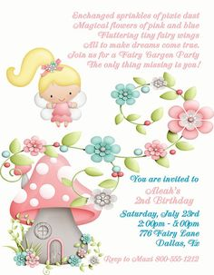 Deb's Party Designs - Fairy Garden Birthday Invitation, $1.00 (http://www.debspartydesigns.com/fairy-garden-birthday-invitation/)