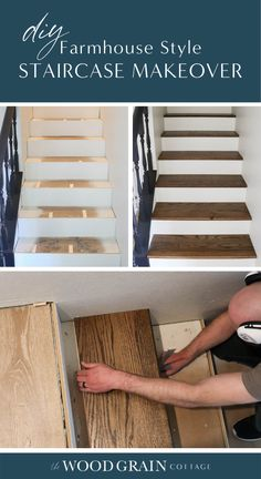 Carpet covering your stairs? Here's our DIY staircase makeover, complete with a step by step tutorial that shows just how we transformed our staircase! Basement Staircase, Rustic Staircase, Staircase Remodel, Staircase Diy, Hardwood Stairs, Wooden Stairs, Farmhouse Stairs, Modern Farmhouse, Farmhouse Style