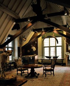 Trophy Room at The Explorer's Club Bonus Room Office, Bonus Rooms, Bonus Room Decorating, Best Man Caves, Man Cave Furniture, Small Home Offices, Gun Rooms, British Colonial Style, Trophy Rooms