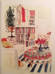 Illustration by Virginia Johnson Drawing Interior, Interior Rendering, Interior Sketch, Home Interior Design, Interior Doors, Mansion Interior, Interior Painting, Retail Interior, Luxury Interior