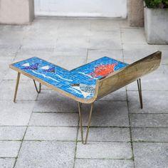 Mosaic Table Blue Ocean by Berthold Muller, Germany, Glass Mosaic Tiles, Mosaic Art, Tile Tables, Mosaic Tables, Table Furniture, Outdoor Furniture, Outdoor Decor, Mosaic Coffee Table, Mosaic Patterns