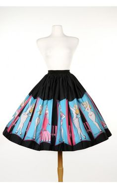 Pinup Couture- Jenny Skirt in Burlesque Performer Print | Pinup Girl Clothing