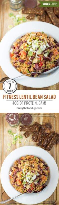 Fitness Lentil Bean Salad. 40g per bowl. Ready in 7 minutes | #vegetarian #workout | hurrythefoodup.com