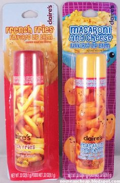 [I dont want to live on this planet anymore.] Claires French Fries  Macaroni and Cheese Flavored Lip Balms Best Lip Gloss, Best Lip Balm, Pucker Pops, Funny Lips, Claire's Accessories, Justice Accessories, Homemade Lip Balm, Nice Lips, Baume