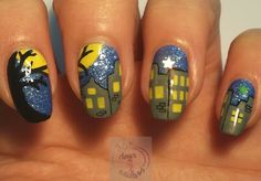 365 days of nail art : Day 320) Bright December moon is beaming...
