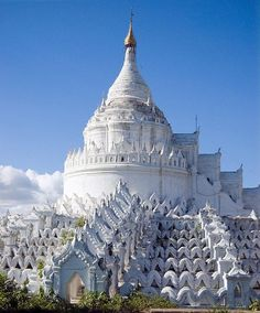 Hsinbyume Pagoda/ Myatheindan Pagoda, Mingun, Myanmar  A white pagoda modeled after the description of the mythological Buddhist mountain, Mount Meru.  http://www.escapenormal.com/2013/03/19/the-100-most-amazing-temples-mosques-cathedrals-on-earth/