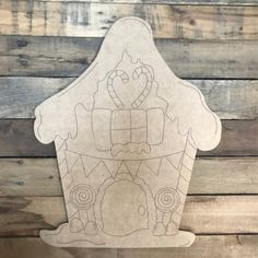 Gingerbread House Cutout, Wood Shape, Paint by Line Gingerbread House Template, Gingerbread House Parties, Christmas Gingerbread House, Gingerbread Houses, Wooden Cutouts, Wooden Shapes, Christmas Signs Wood, Christmas Crafts, Wood Craft Patterns