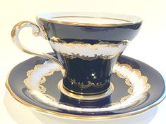 Navy Blue Aynsley Tea Cup and Saucer, English Bone China Teacups, Tea Set, Antique Tea Cups, Blue Cups, Tea Sets, Tea Cups Vintage