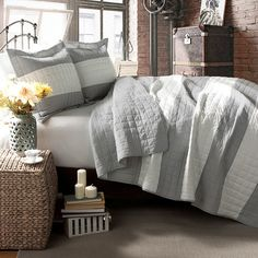 Cotton quilt set, showcasing a stripe motif. King set. $75.99. Wayfair.com. Also comes in taupe and light blue.