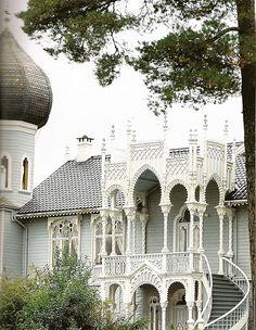 """Little Alhambra"", the summer home of famed Norwegian violinist Ole Bull  -- Lysoen Island, Norway"