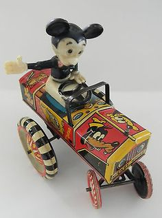 *MICKEY MOUSE ~ Marx Disney wind up tin lithograph toy jalopy bobble head Vintage Mickey Mouse, Minnie Mouse, Vintage Disney, Disney Mickey Mouse, Metal Toys, Tin Toys, Vintage Tins, Vintage Dolls, Toys In The Attic