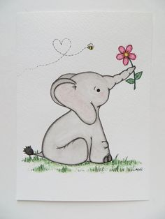 Watercolor painting, nursery painting, original painting, elephant painting, childrens art by Waterblooms on Etsy