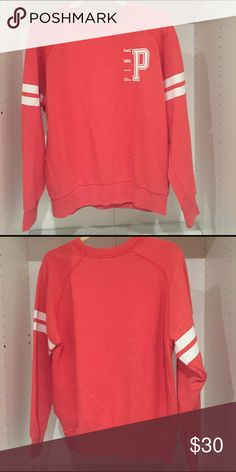 Pink sweater Pink sweater. Very cute sweater! It says xs on the sweater but I usually wear medium sweaters and it fits me. So I would say xs-m PINK Victoria's Secret Sweaters