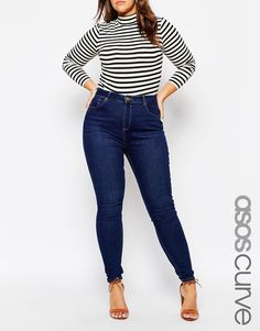 ASOS CURVE Lisbon Mid Rise Skinny Jean In Tyne Washed Rich Blue