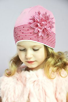 Anpa Girls Cotton Knit Beanie with Contrasting Flower
