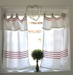 Easly Kitchen Curtains Idea for DIY Whitewashed Cottage chippy shabby chic French country rustic swedish decor idea Shabby Chic Kitchen, Shabby Chic Homes, Shabby Chic Decor, Vintage Kitchen Curtains, Cottage Curtains, Cafe Curtains, Window Curtains, Nursery Curtains, Farmhouse Curtains