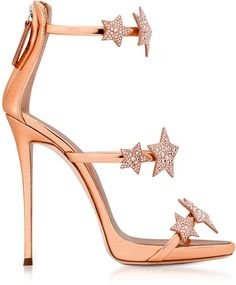 e756fc3c7946 Giuseppe Zanotti  Harmony Star  rose gold sandal with three straps and stars