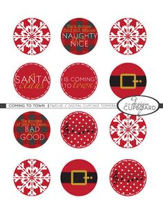Holiday Christmas Cupcake Toppers