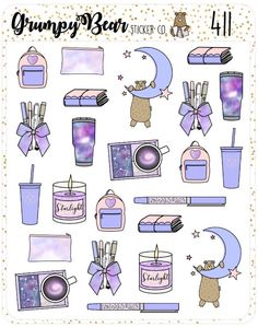 Nebula Deco Sheet – Grumpy Bear Sticker Co. Journal Stickers, Scrapbook Stickers, Planner Stickers, Kawaii Stickers, Cool Stickers, Kawaii Drawings, Easy Drawings, Homemade Stickers, Tumblr Stickers