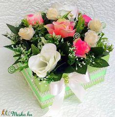 Nagy méretű virágbox rózsákkal (KÉSZTERMÉK) (pinkrose) - Meska.hu