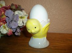Egg Cup Baby Chick Dish Yellow Ceramic Chicken by TKSPRINGTHINGS Craft Kits, Craft Supplies, Ceramic Chicken, I Believe In Angels, Vintage Tableware, Vintage Cross Stitches, Easter Sale, Egg Cups, Baby Chicks