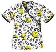 Cherokee 6885V Women's SpongeBob Animal Pants Print Scrub Top #nursing