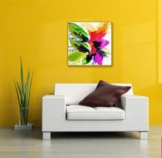 """#colorislife #peinture #painting #art #decoration #interiordesign """"Éclosion 141-B"""" /'The Blossoming of Life 141-B' (c) Eliora Bousquet [Photo du décor (c) Fotolia] Bousquet, Sofa, Couch, Photos Du, Decoration, Painting, Furniture, Home Decor, Art"""