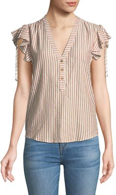 Shop Blakely Striped Flutter-Sleeve Top from Veronica Beard at Neiman Marcus Last Call, where you'll save as much as on designer fashions. Sleeve Designs, Blouse Designs, Balenciaga Top, Flutter Sleeve Top, Veronica Beard, Timeless Fashion, Blouses For Women, Tunic Tops, Punk