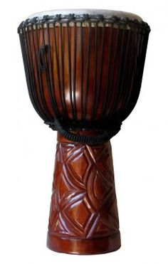 hand-crafted cinnamon wooden djembe drum - #african #instrument