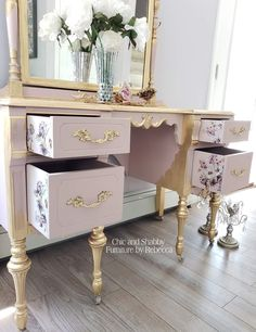 Shabby Chic Furniture In a family room, try to arrange your furniture into centers. Cottage Style Furniture, Pink Furniture, Shabby Chic Furniture, Shabby Chic Decor, Painted Furniture, Home Furniture, Furniture Design, Decoupage Furniture, Diy Furniture Projects