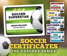 Editable Soccer Certificates: Designer Templates to create showstopping awards. #soccer #certificate #award #soccercoach Certificate Maker, Award Certificates, Certificate Design, Certificate Templates, Soccer Practice Plans, Award Template, Retro Housewife, Soccer Coaching, Team Player