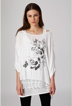 Print Lace Trim Top - Holiday Shop - Trends