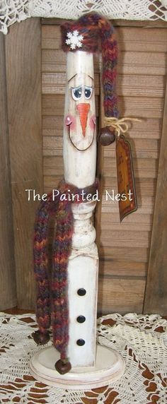 Primtive Handmade Handpainted Spindle Snowman by ThePaintedNest