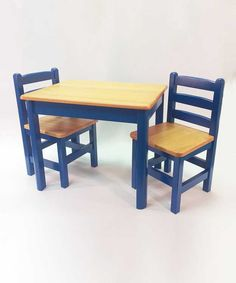 Apple Furniture Just For Kids Table and 2 Chairs - Blue & Natural, model no: 47857, Price: $ 199.99 www.jadabugs.com #jadabugsbabyboutique @jadabugsbabyboutique